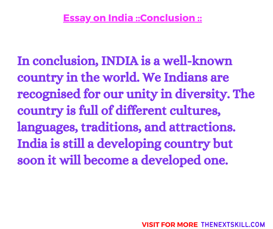 Essay on India | Conclusion