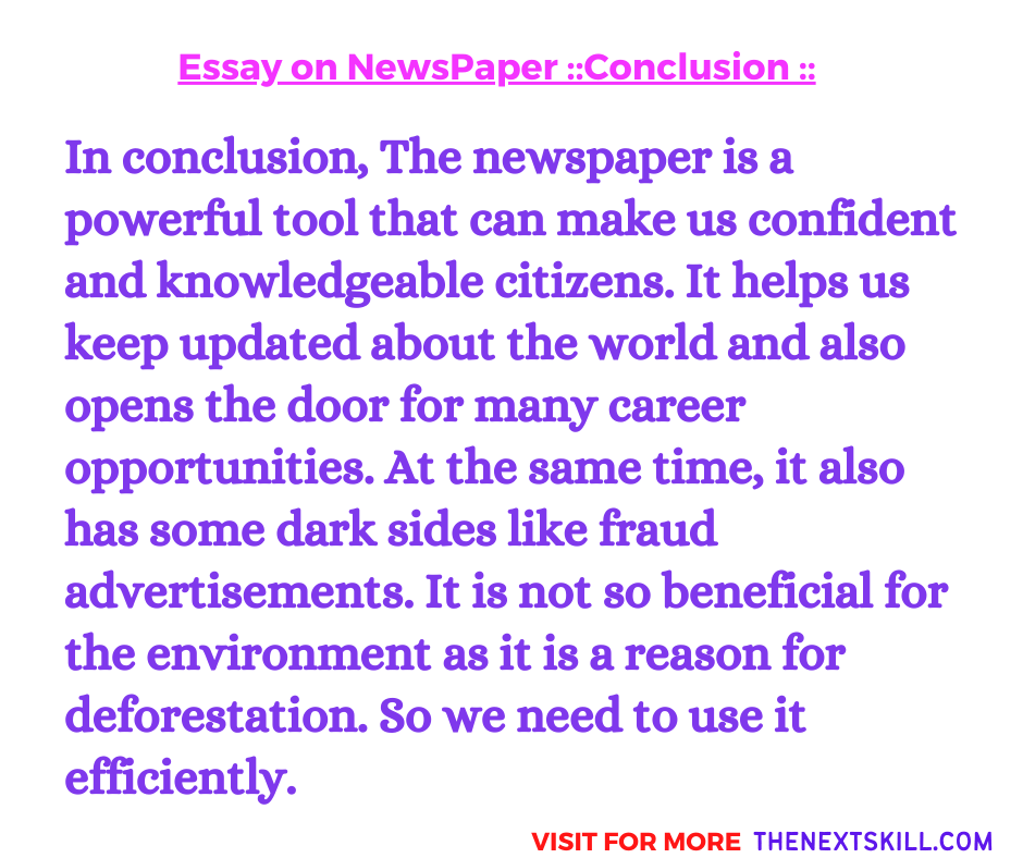 Essay on newspaper | Conclusion
