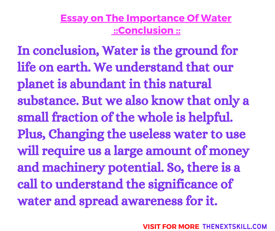 Essay on The Importance Of Water   Conclusion
