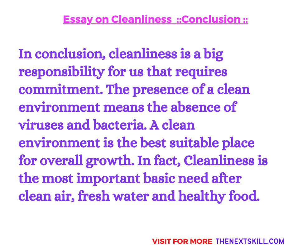 Essay on Cleanliness   Conclusion