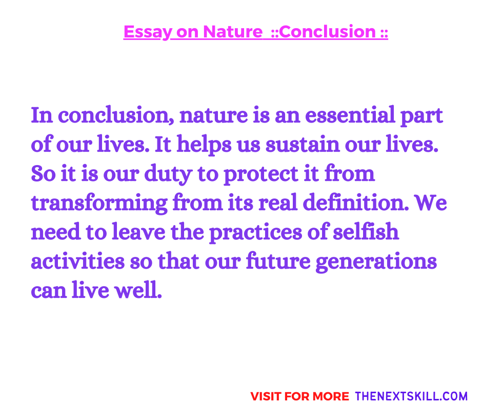 Essay on Nature | Conclusion