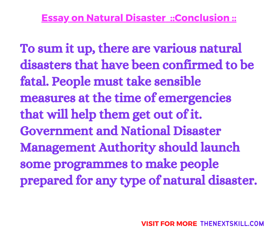 Essay On Natural Disaster | Conclusion
