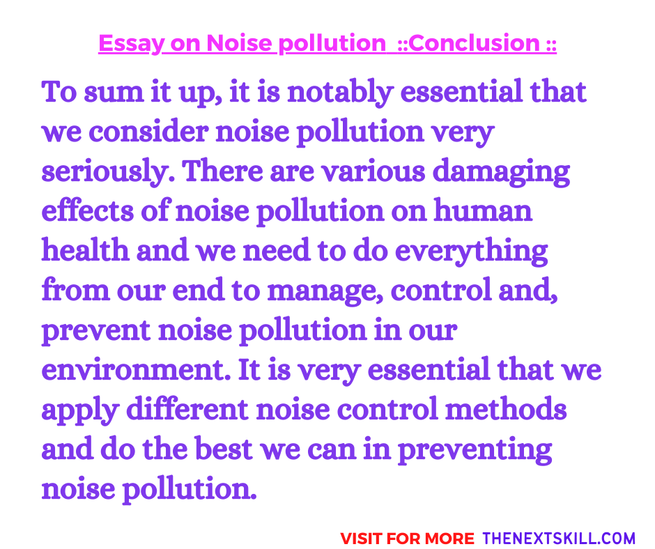 Essay on Noise pollution | Conclusion