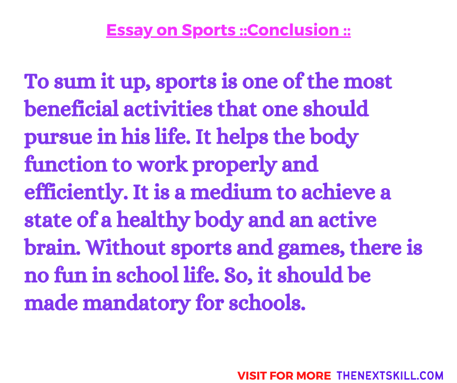 Essay on Sports and Games   Conclusion