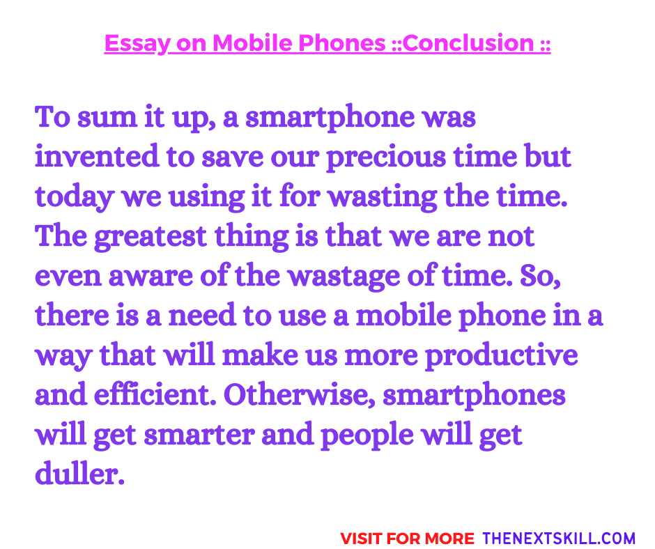 Essay on Mobile Phone   Conclusion