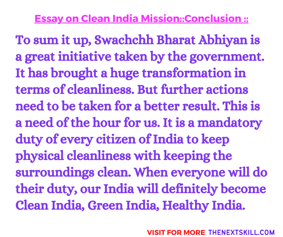 Essay on Clean India Mission | Conclusion