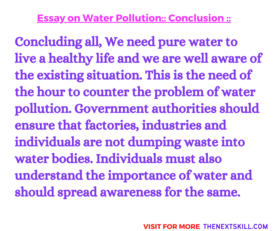 Essay On Water Pollution | Conclusion