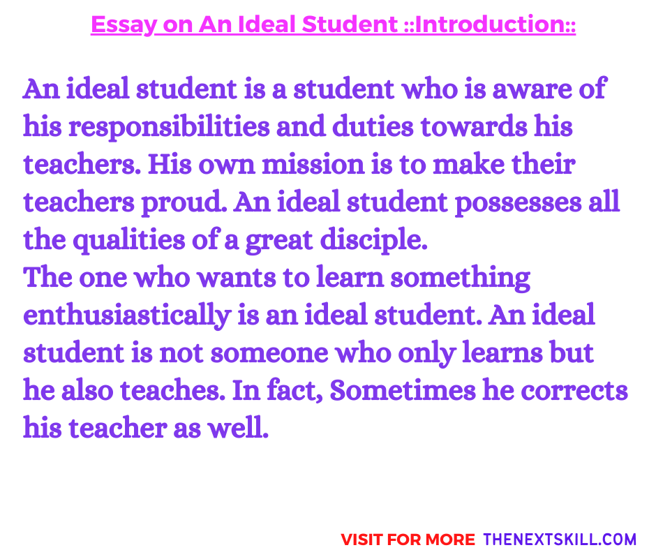 Essay on An ideal Student   Introduction