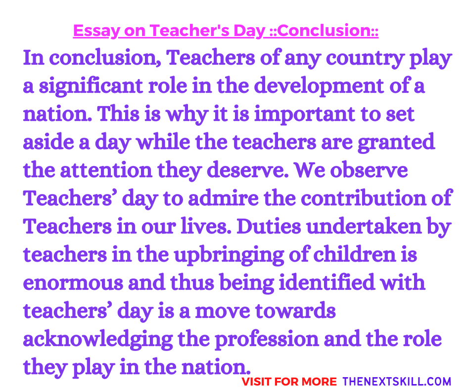 Essay On Teacher's Day | Conclusion