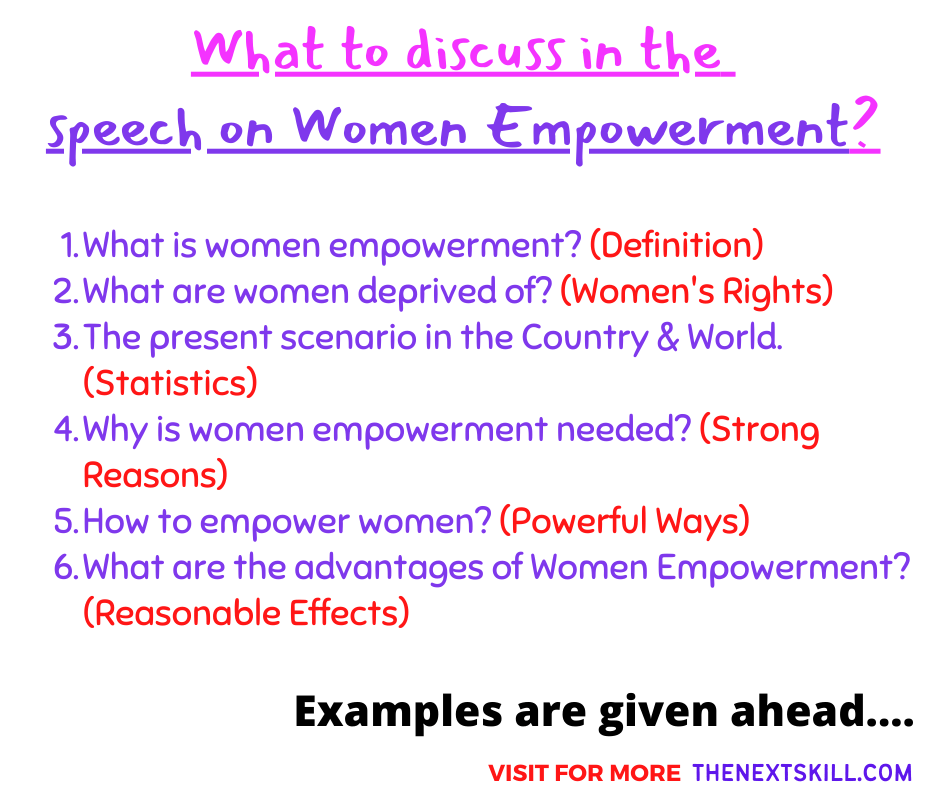What to discuss in the speech on Women Empowerment?