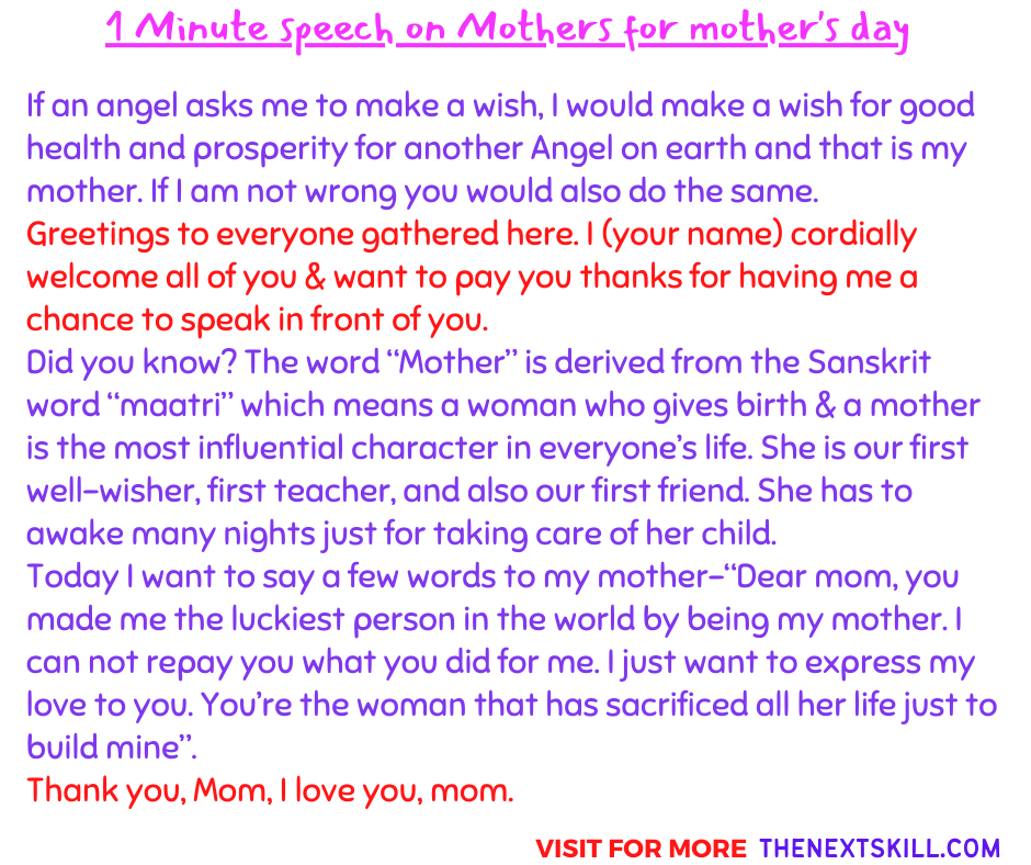 1 Minute speech on Mothers for mother's day