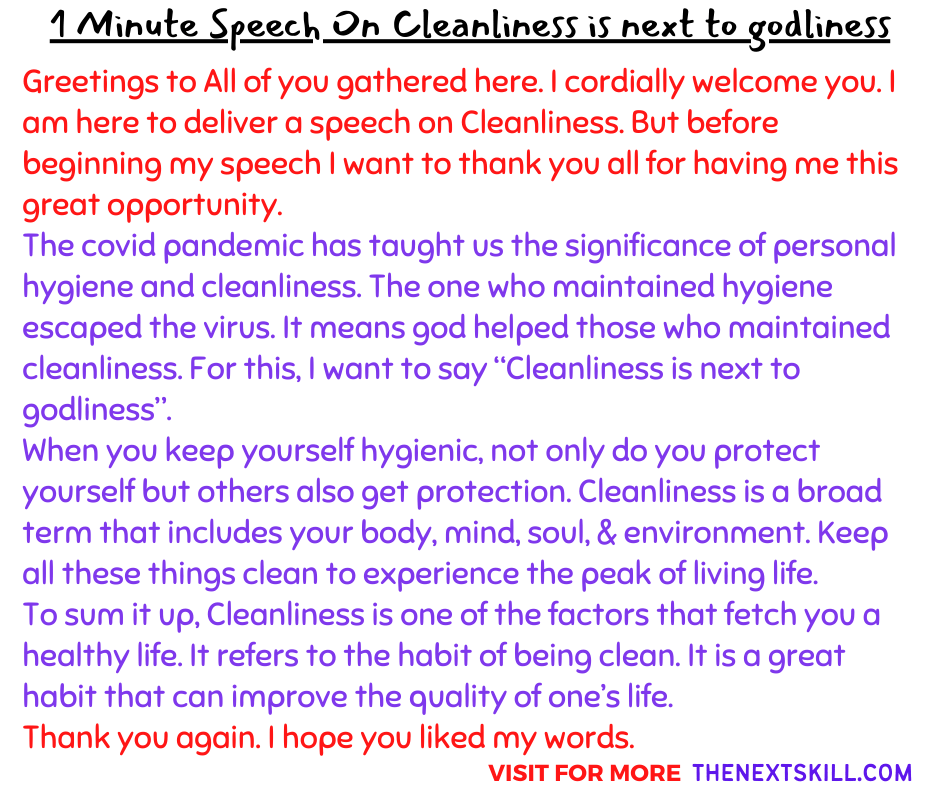 1 Minute Speech On Cleanliness is next to godliness