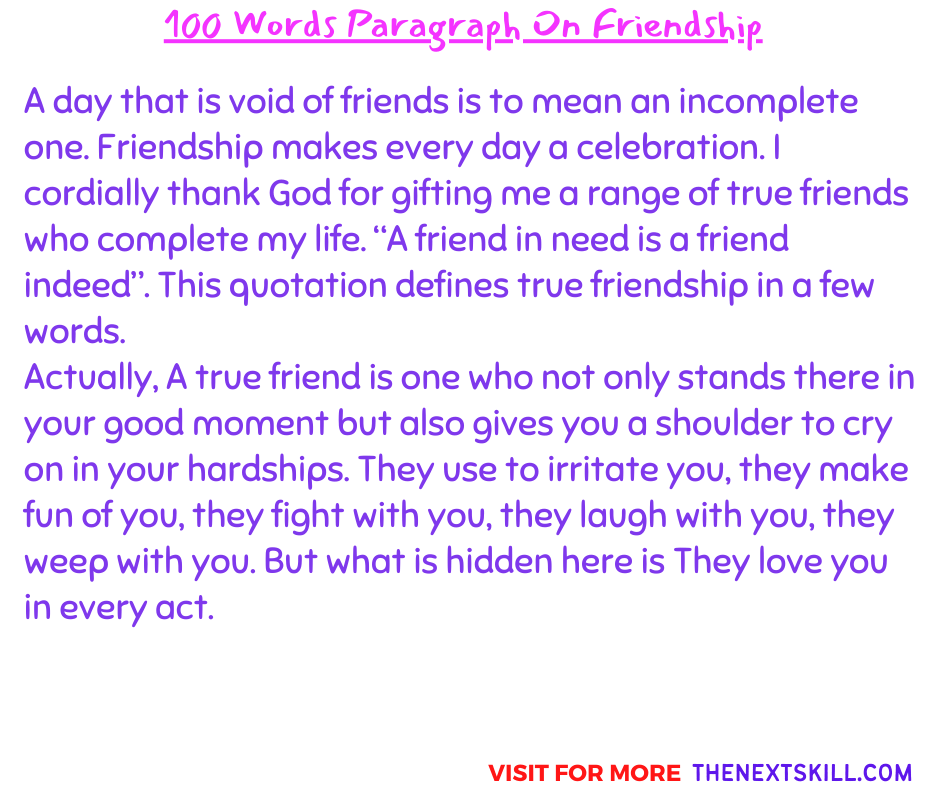 100 Words Paragraph On Friendship