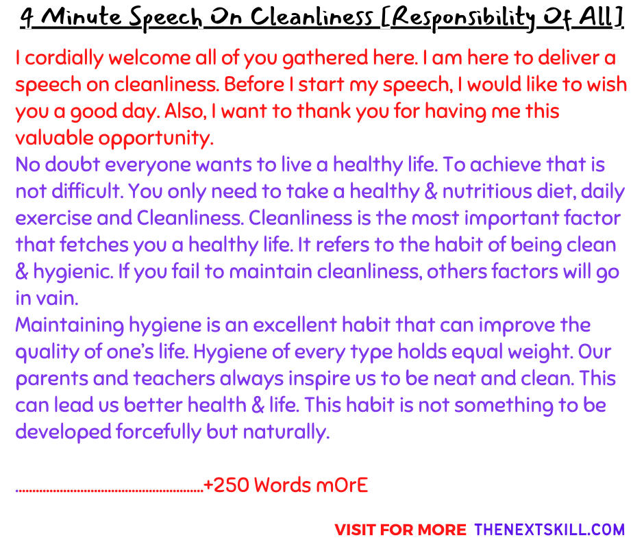 Engaging Speech On Cleanliness