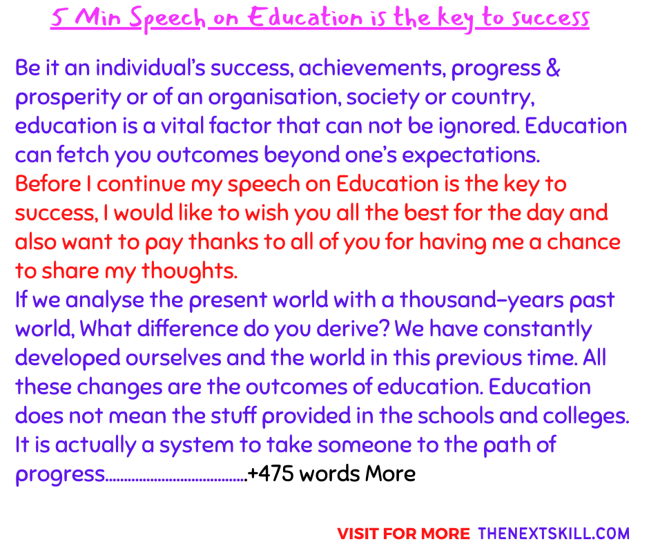 5 Min speech on education gives one power